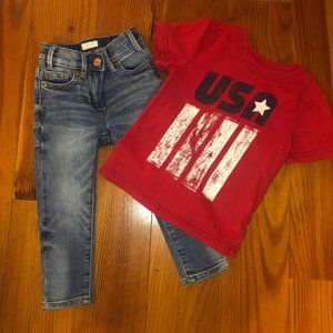 Boys Skinny Jeans and Flag Shirt Outfit